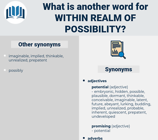 within realm of possibility, synonym within realm of possibility, another word for within realm of possibility, words like within realm of possibility, thesaurus within realm of possibility