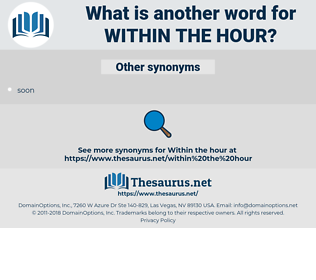 within the hour, synonym within the hour, another word for within the hour, words like within the hour, thesaurus within the hour