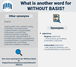 without basis, synonym without basis, another word for without basis, words like without basis, thesaurus without basis