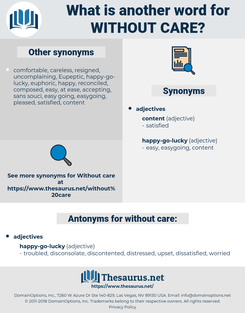 Synonyms For Without Care Thesaurus Net Synonyms, antonyms & associated words(0.00 / 0 votes)rate these synonyms: synonyms for without care thesaurus net