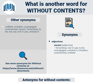 without contents, synonym without contents, another word for without contents, words like without contents, thesaurus without contents