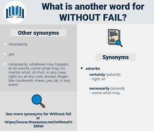 without fail, synonym without fail, another word for without fail, words like without fail, thesaurus without fail