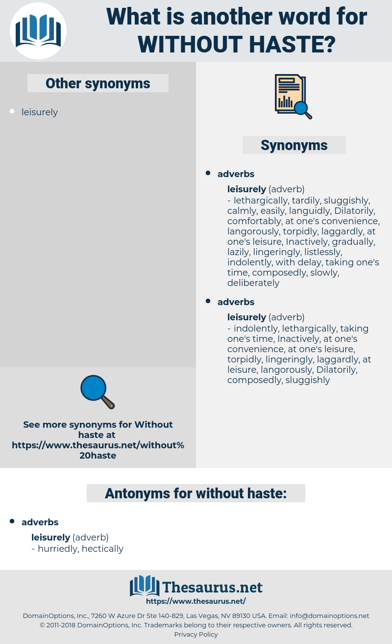 without haste, synonym without haste, another word for without haste, words like without haste, thesaurus without haste