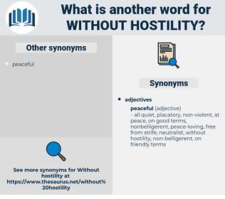 without hostility, synonym without hostility, another word for without hostility, words like without hostility, thesaurus without hostility
