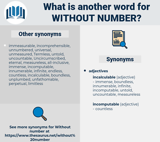 without number, synonym without number, another word for without number, words like without number, thesaurus without number