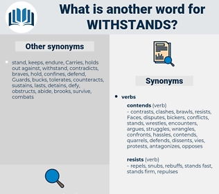 withstands, synonym withstands, another word for withstands, words like withstands, thesaurus withstands