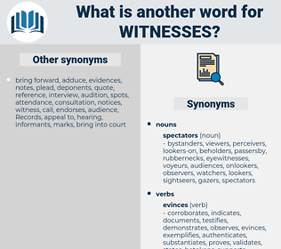 witnesses, synonym witnesses, another word for witnesses, words like witnesses, thesaurus witnesses