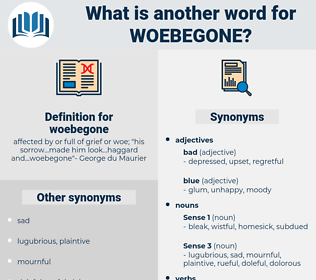 woebegone, synonym woebegone, another word for woebegone, words like woebegone, thesaurus woebegone