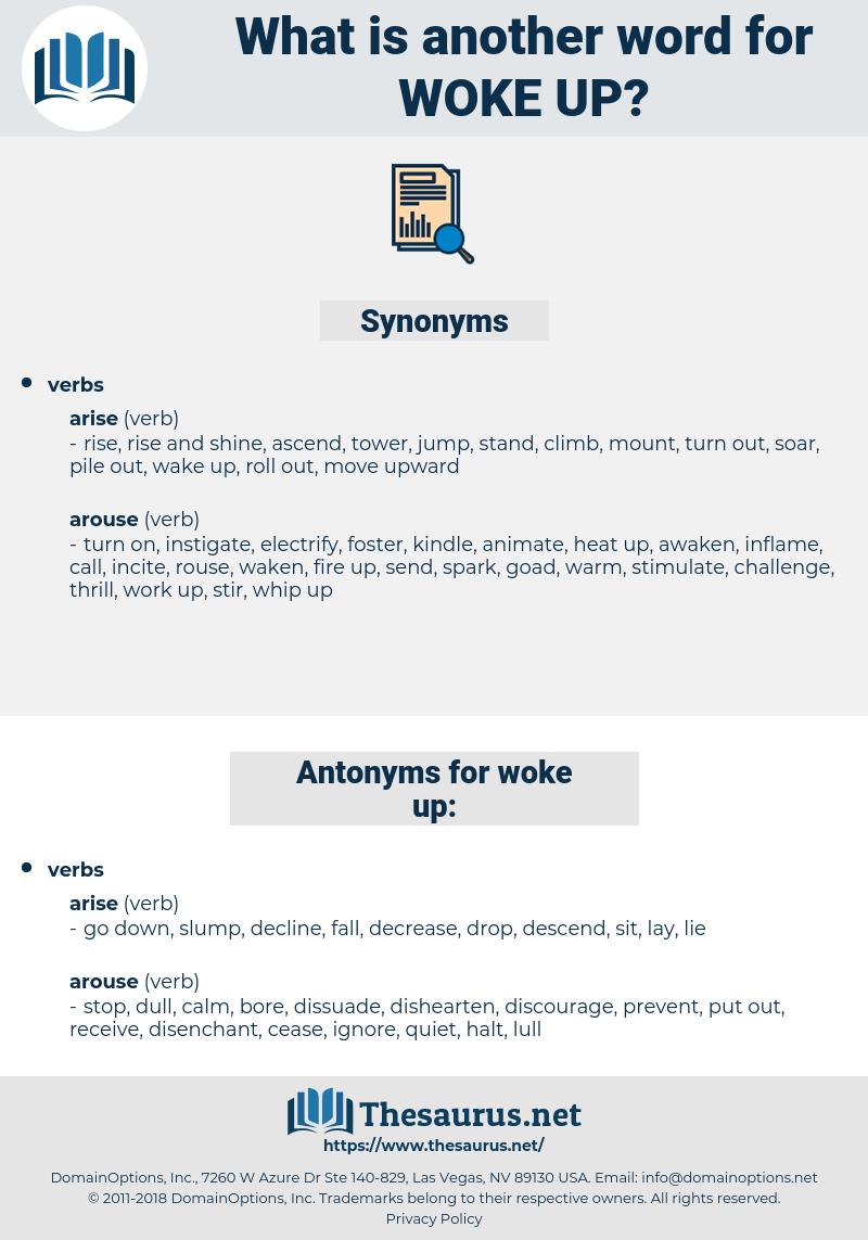 woke up, synonym woke up, another word for woke up, words like woke up, thesaurus woke up