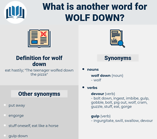 wolf down, synonym wolf down, another word for wolf down, words like wolf down, thesaurus wolf down
