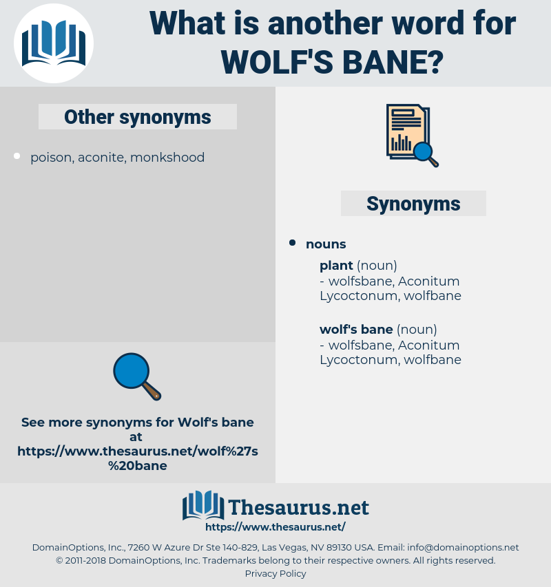 wolf's bane, synonym wolf's bane, another word for wolf's bane, words like wolf's bane, thesaurus wolf's bane