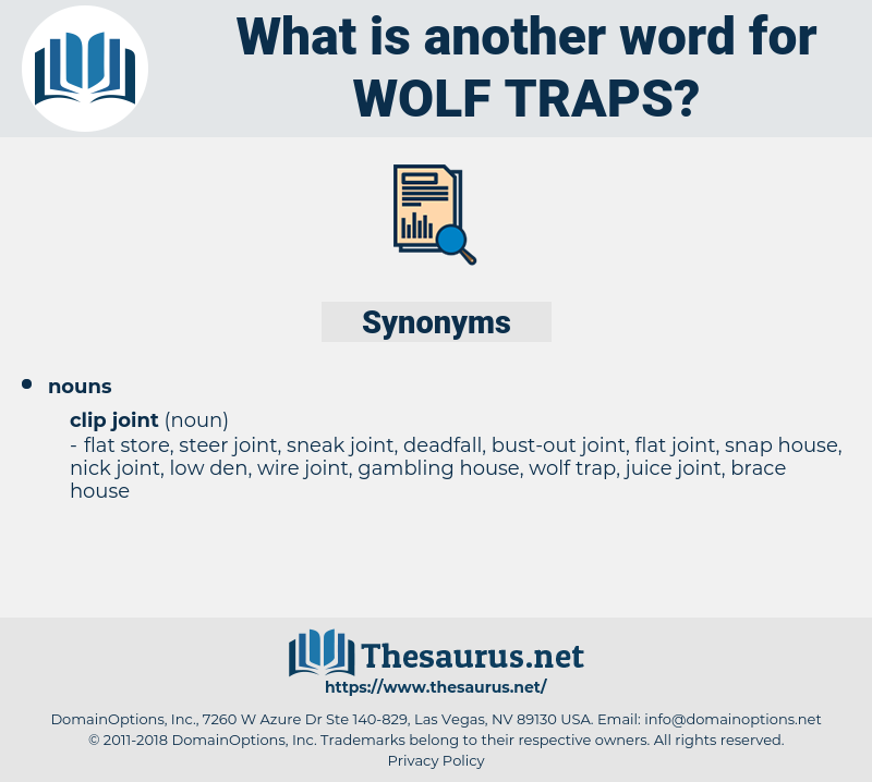 wolf traps, synonym wolf traps, another word for wolf traps, words like wolf traps, thesaurus wolf traps