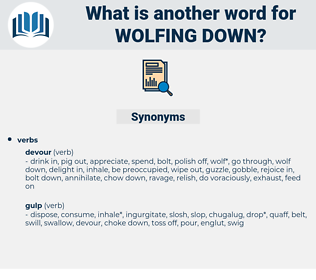 wolfing down, synonym wolfing down, another word for wolfing down, words like wolfing down, thesaurus wolfing down