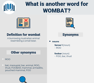 wombat, synonym wombat, another word for wombat, words like wombat, thesaurus wombat