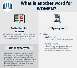 women, synonym women, another word for women, words like women, thesaurus women