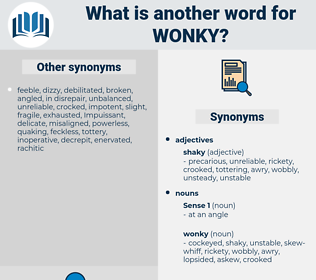 wonky, synonym wonky, another word for wonky, words like wonky, thesaurus wonky