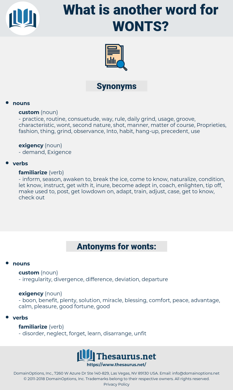 wonts, synonym wonts, another word for wonts, words like wonts, thesaurus wonts