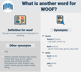woof, synonym woof, another word for woof, words like woof, thesaurus woof