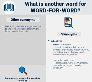 word for word, synonym word for word, another word for word for word, words like word for word, thesaurus word for word