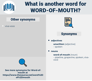 word of mouth, synonym word of mouth, another word for word of mouth, words like word of mouth, thesaurus word of mouth