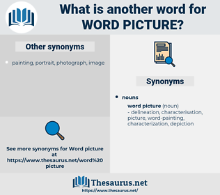word picture, synonym word picture, another word for word picture, words like word picture, thesaurus word picture