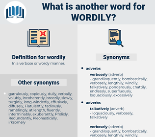 wordily, synonym wordily, another word for wordily, words like wordily, thesaurus wordily