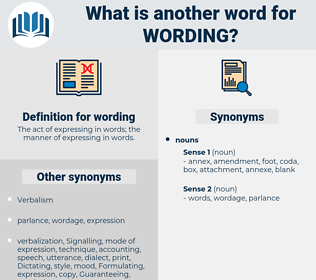 wording, synonym wording, another word for wording, words like wording, thesaurus wording