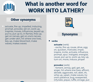 work into lather, synonym work into lather, another word for work into lather, words like work into lather, thesaurus work into lather
