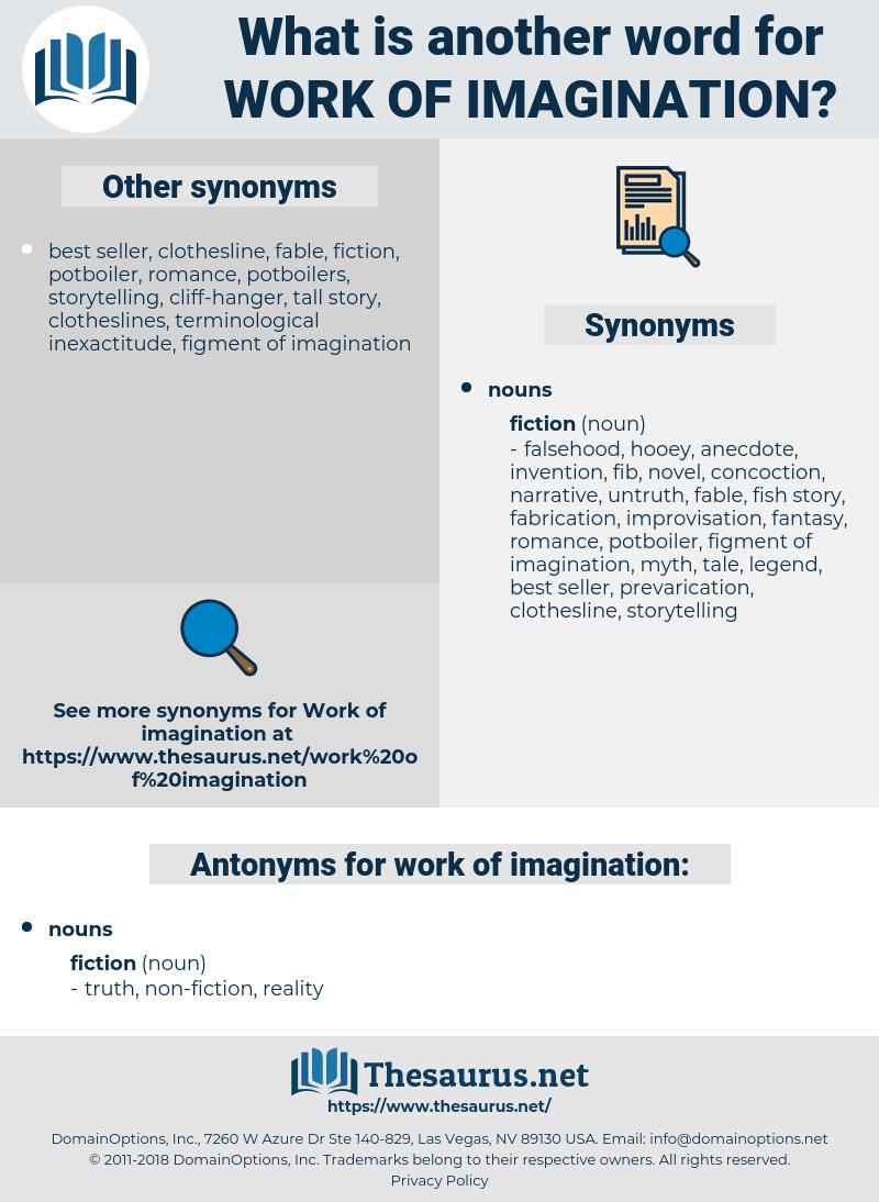 work of imagination, synonym work of imagination, another word for work of imagination, words like work of imagination, thesaurus work of imagination