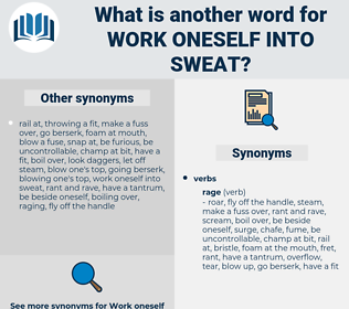work oneself into sweat, synonym work oneself into sweat, another word for work oneself into sweat, words like work oneself into sweat, thesaurus work oneself into sweat