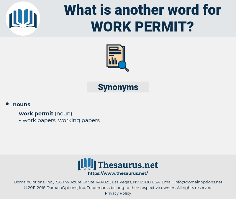 work permit, synonym work permit, another word for work permit, words like work permit, thesaurus work permit