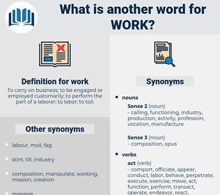 work, synonym work, another word for work, words like work, thesaurus work