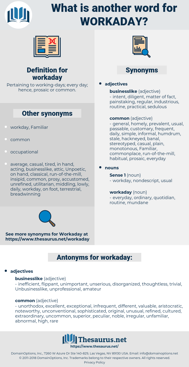 workaday, synonym workaday, another word for workaday, words like workaday, thesaurus workaday