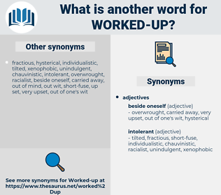 worked up, synonym worked up, another word for worked up, words like worked up, thesaurus worked up