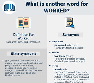 Worked, synonym Worked, another word for Worked, words like Worked, thesaurus Worked