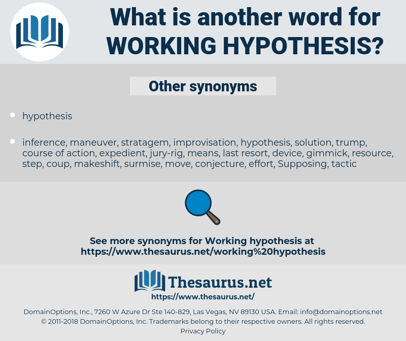 working hypothesis, synonym working hypothesis, another word for working hypothesis, words like working hypothesis, thesaurus working hypothesis