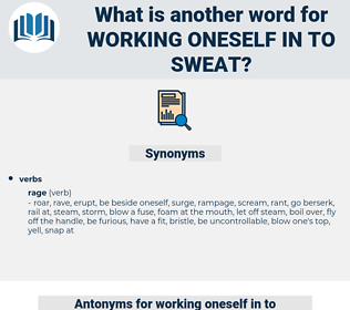 working oneself in to sweat, synonym working oneself in to sweat, another word for working oneself in to sweat, words like working oneself in to sweat, thesaurus working oneself in to sweat