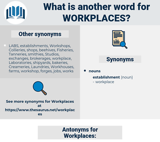 Workplaces, synonym Workplaces, another word for Workplaces, words like Workplaces, thesaurus Workplaces