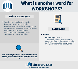 Workshops, synonym Workshops, another word for Workshops, words like Workshops, thesaurus Workshops