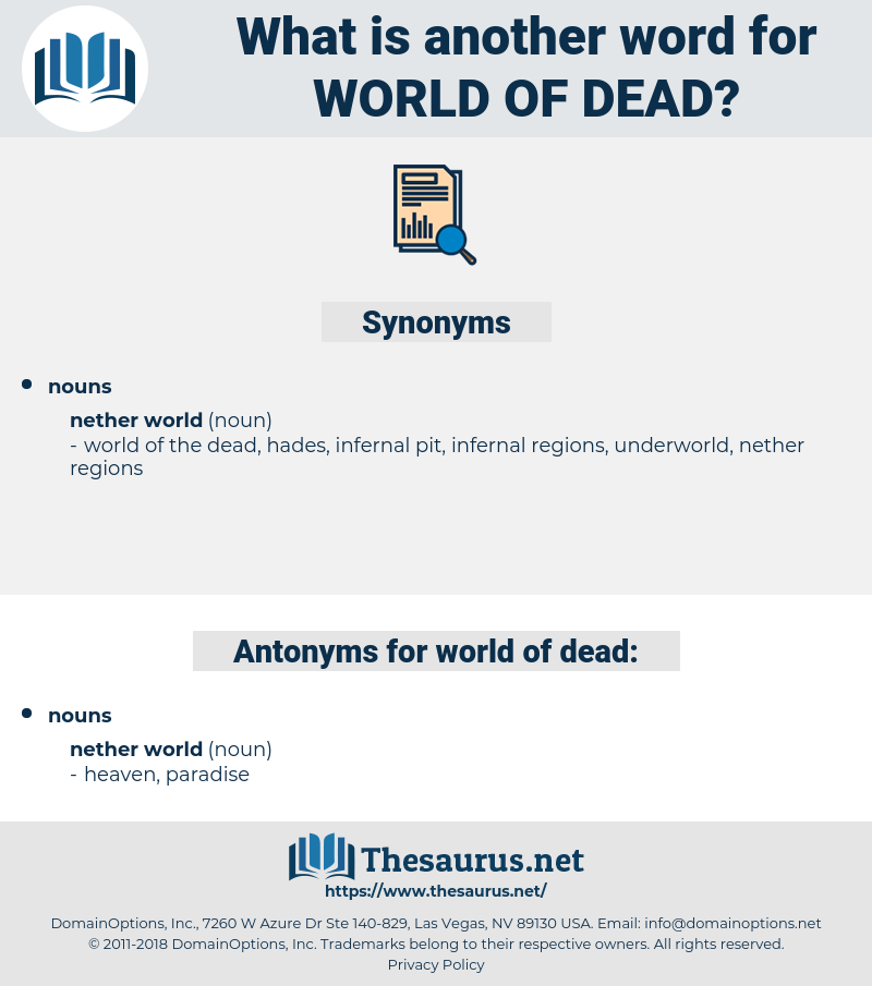 world of dead, synonym world of dead, another word for world of dead, words like world of dead, thesaurus world of dead