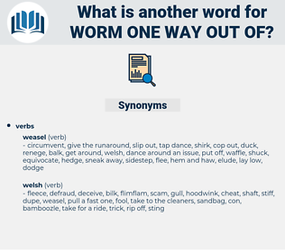 worm one way out of, synonym worm one way out of, another word for worm one way out of, words like worm one way out of, thesaurus worm one way out of