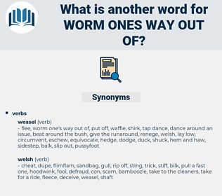 worm ones way out of, synonym worm ones way out of, another word for worm ones way out of, words like worm ones way out of, thesaurus worm ones way out of