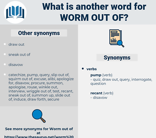 worm out of, synonym worm out of, another word for worm out of, words like worm out of, thesaurus worm out of