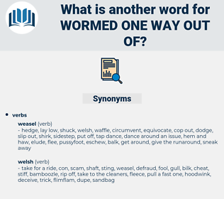 wormed one way out of, synonym wormed one way out of, another word for wormed one way out of, words like wormed one way out of, thesaurus wormed one way out of
