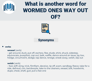 wormed ones way out of, synonym wormed ones way out of, another word for wormed ones way out of, words like wormed ones way out of, thesaurus wormed ones way out of