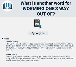 worming one's way out of, synonym worming one's way out of, another word for worming one's way out of, words like worming one's way out of, thesaurus worming one's way out of