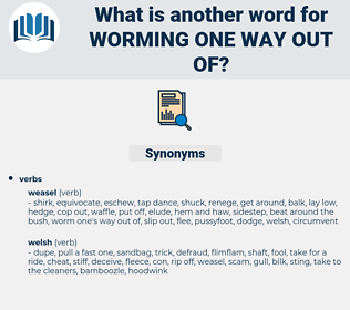 worming one way out of, synonym worming one way out of, another word for worming one way out of, words like worming one way out of, thesaurus worming one way out of