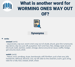worming ones way out of, synonym worming ones way out of, another word for worming ones way out of, words like worming ones way out of, thesaurus worming ones way out of