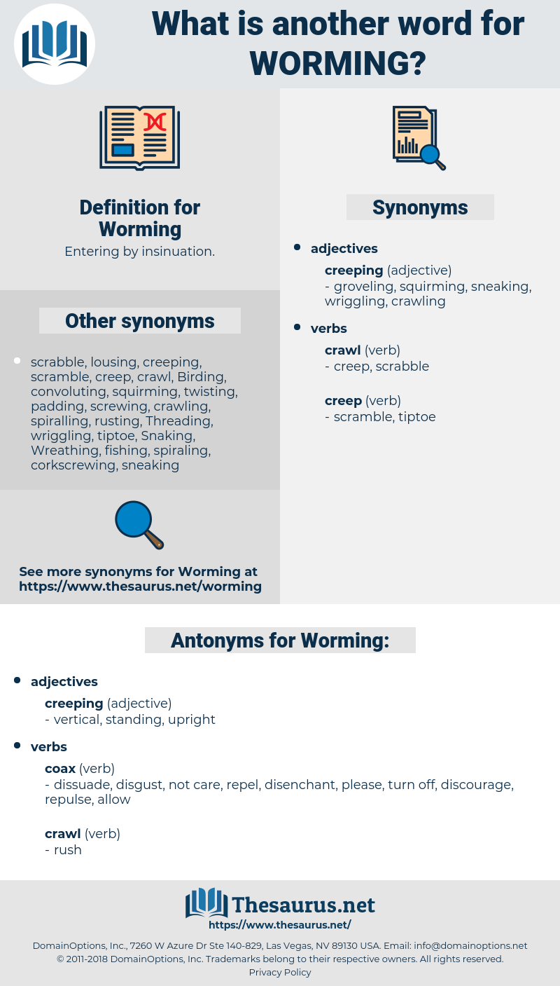 Worming, synonym Worming, another word for Worming, words like Worming, thesaurus Worming