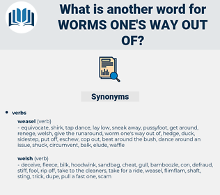 worms one's way out of, synonym worms one's way out of, another word for worms one's way out of, words like worms one's way out of, thesaurus worms one's way out of